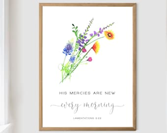His Mercies Are New Every Morning Lamentations 3 22 Texas Wildflowers Art Print Watercolor by Cheryl Casey, Christian Gift Bible Verse