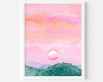 Pink Sunrise Print from Watercolor Painting by Cheryl Casey, pink and turquoise art, sunrise decor, rose gold art, mountain wall decor