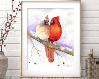 Cardinal Print, Cardinal Couple, Watercolor Painting of Birds in Love, Cardinal Pair