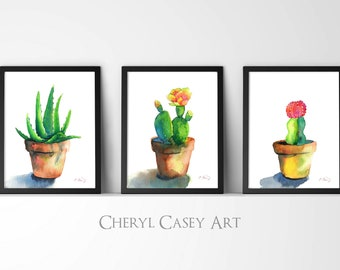 Cactus Succulent Set of 3 Art Prints from Watercolor Paintings by Cheryl Casey, yellow cactus bloom, pink cactus pin cushion, aloe vera