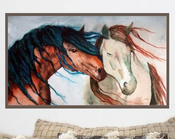 EXTRA LARGE PRINT Nuzzling Horses