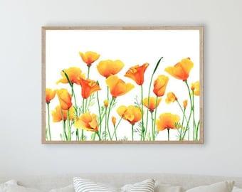 California Poppy Field Print, Poppies Watercolor Art by Cheryl Casey, Orange Wildflower, choice of HORIZONTAL or VERTICAL