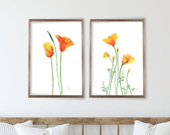 California Poppy Art Print Set of 2, Poppies Watercolor Painting by Cheryl Casey, California State Flower