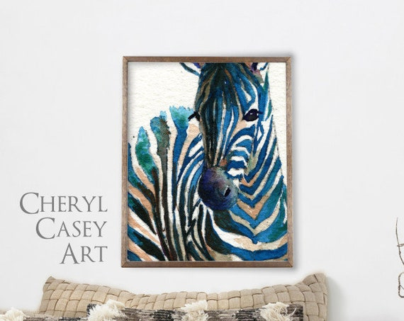Zebra Closeup Painting, Watercolor Art Print, modern art safari animal