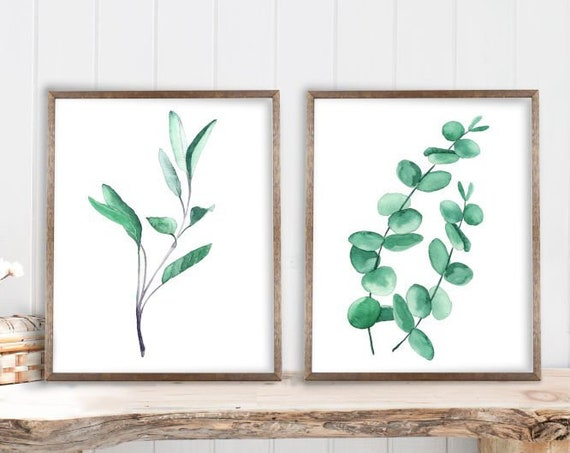 Eucalyptus Print Set of 2, Green Botanical Living Room Wall Art, Minimalist Watercolor decor, silver dollar eucalyptus