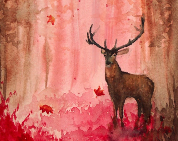 Deer in Forest Print, Watercolor Painting by Cheryl Casey, buck stag antlers coral autumn
