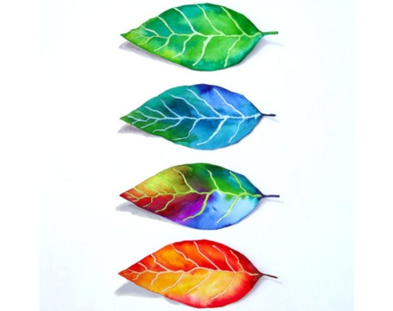 Tree Leaves Four Seasons Watercolor Art Print from Original Painting by Cheryl Casey, Floral Wall Decor, Minimalist