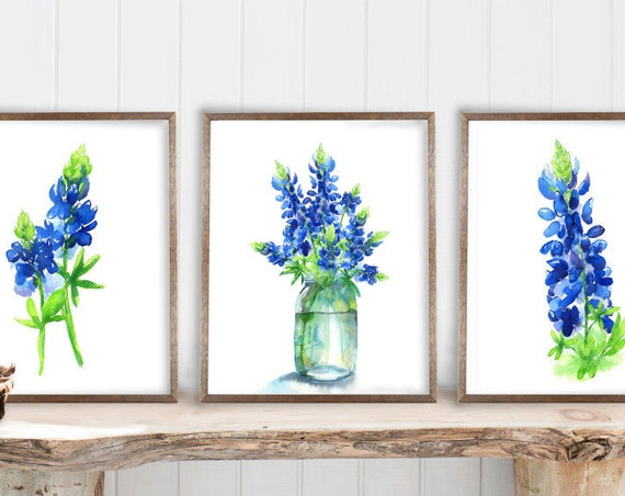 Bluebonnets Art Print Set of 3, Watercolor Painting by Cheryl Casey, Texas Bluebonnets