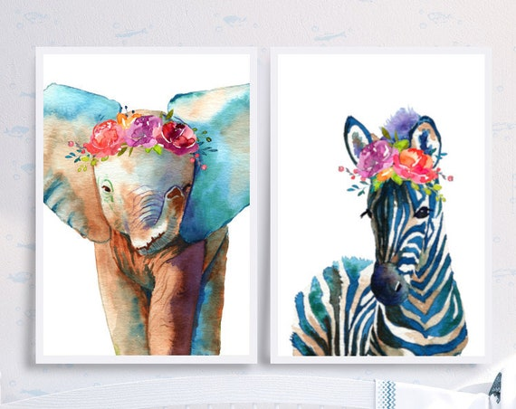 Baby Elephant and Zebra Watercolor Nursery Art Print with Flower Crown