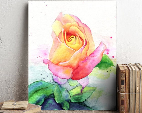 Rose Watercolor Print Painting by Cheryl Casey, Rio Samba pink and yellow rose, rosebud, flower home decor floral wall art