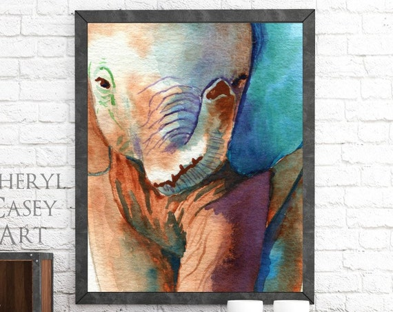 Elephant Closeup Painting, Watercolor Art Print, modern art safari animal