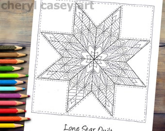 Printable Coloring Page - Quilt: Lone Star - Cheryl Casey Art - Digistamp, Digital Stamp