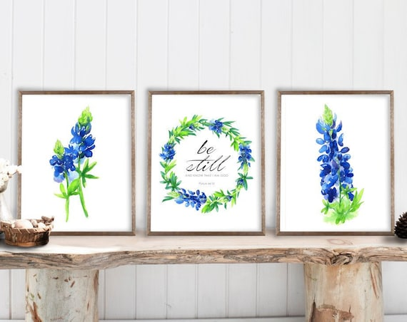 Bluebonnet Art Print Set of 3, Be Still and Know that I am God, Custom Personalize, Texas Bluebonnets