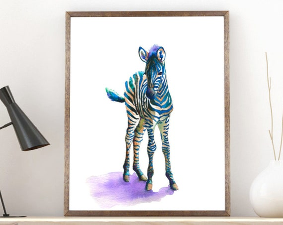 Zebra Painting Art Print, Baby Animal Watercolor Print, safari poster nursery gift, nursery decor