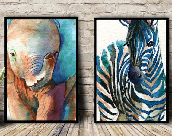 Elephant Zebra Art Prints Set of 2 from Watercolor Paintings by Cheryl Casey