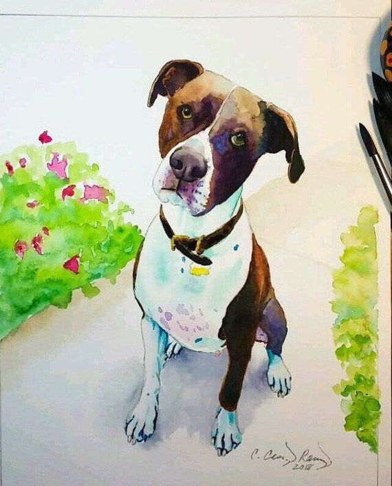 Pet Portrait Watercolor Painting from Your Photo, Custom Pet Portrait Dog Cat any Animal