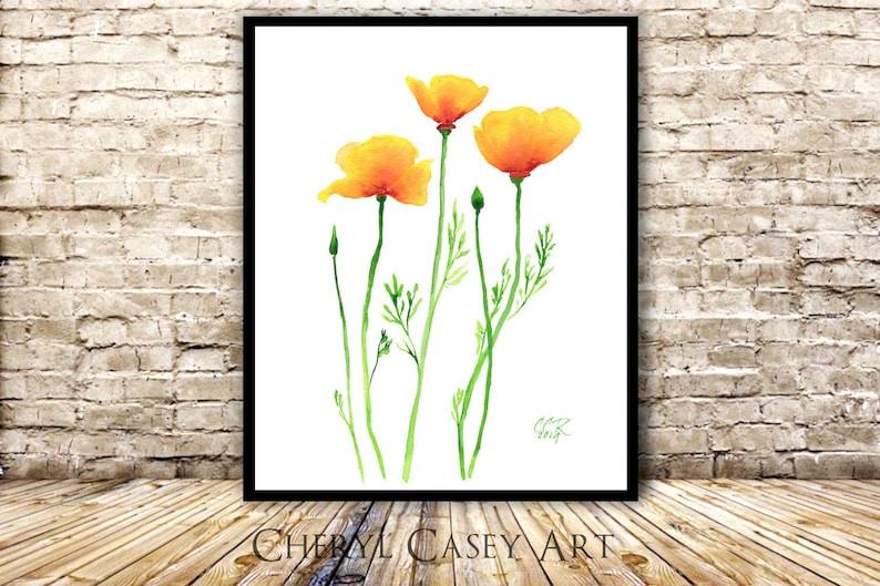 California Poppies Art Minimalist Orange Flowers from image 0