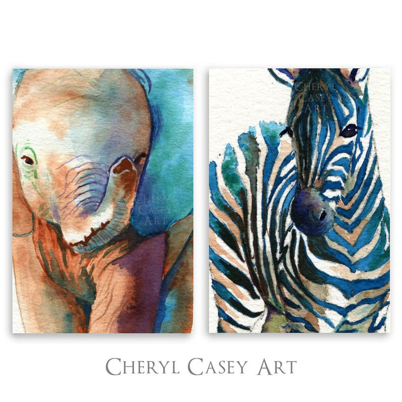 Elephant Zebra Art Prints Set of 2 from Watercolor Paintings image 0