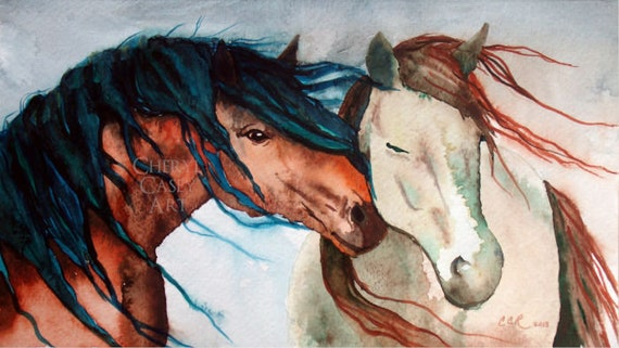Nuzzling Horses Watercolor Art Print from Original Painting by Cheryl Casey, Wall Decor