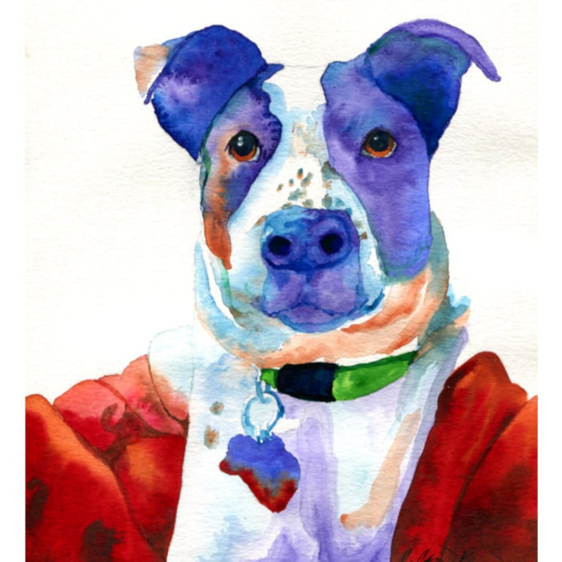 Colorful Dog Art Print from Watercolor Painting by Cheryl image 0