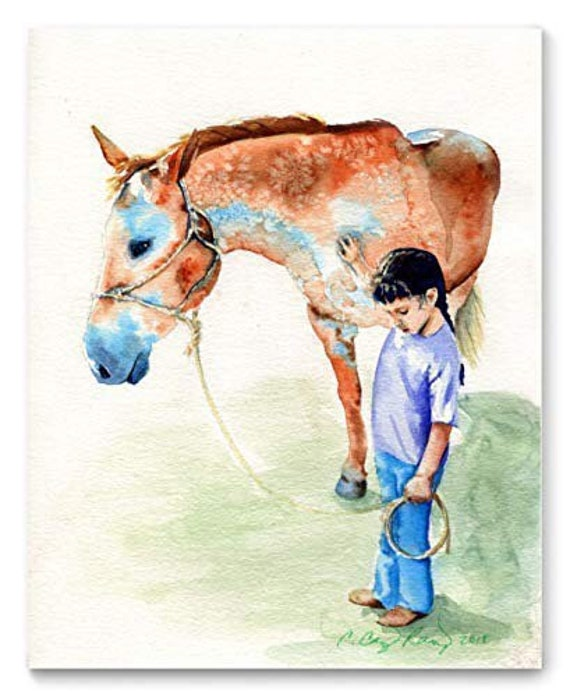 Horse and Girl Watercolor Art Print from Original Painting by Cheryl Casey, Wall Decor