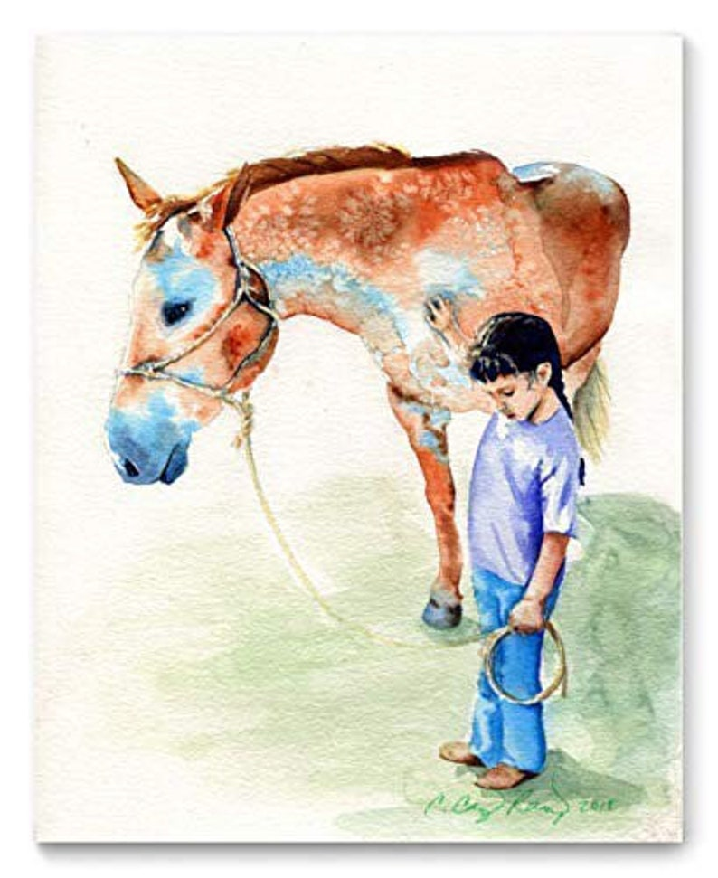 Horse and Girl Watercolor Art Print from Original Painting by image 0