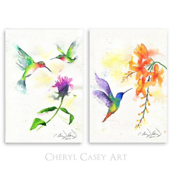 Hummingbird Art Print Set of 2, Watercolor Bird Paintings by Cheryl Casey