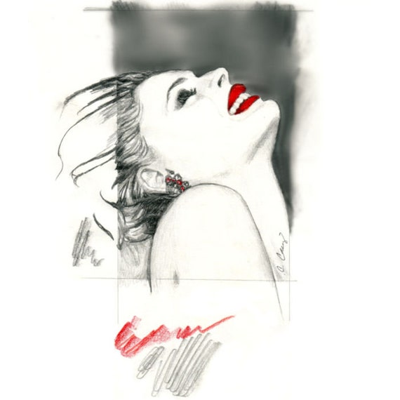 Fashion Art Print from Original Painting by Cheryl Casey, Beautiful Woman with Red Lips, Abstract Elements