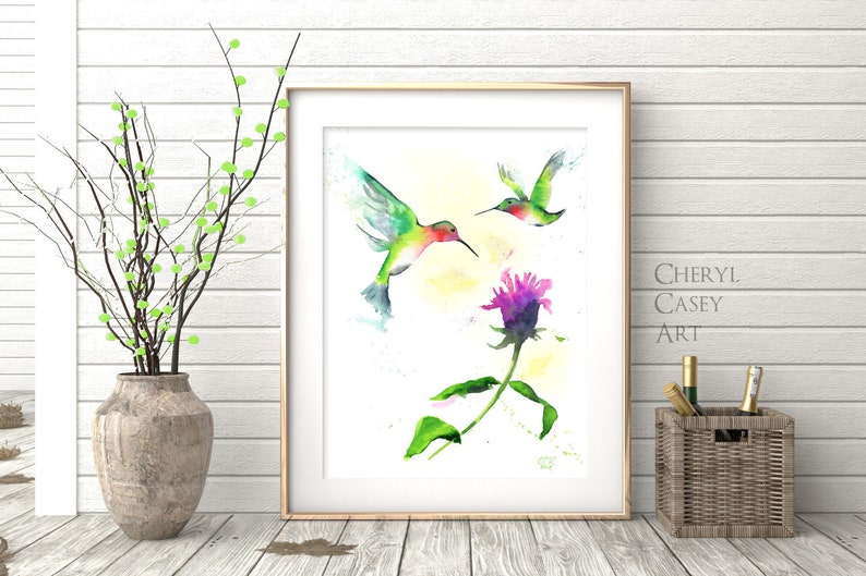 Hummingbird Decor Art Print from Watercolor Painting by Cheryl image 0