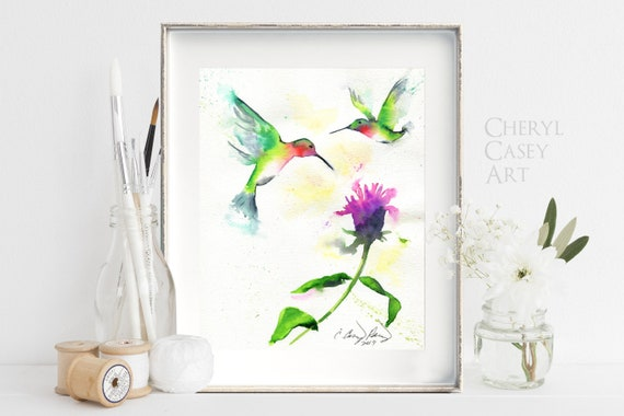 Hummingbird Art Print, Watercolor Painting by Cheryl Casey, ruby throated hummer