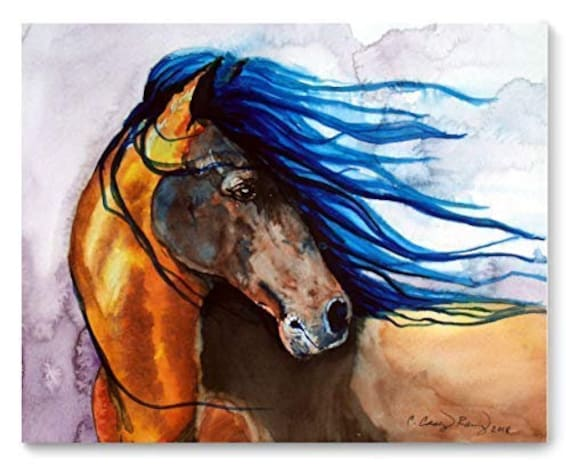 Horse Looking Back Watercolor Art Print from Original Painting by Cheryl Casey, Wall Decor