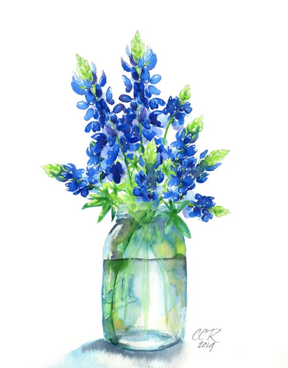 Bluebonnets Art Print, Watercolor Painting by Cheryl Casey, Texas Bluebonnets Wildflower