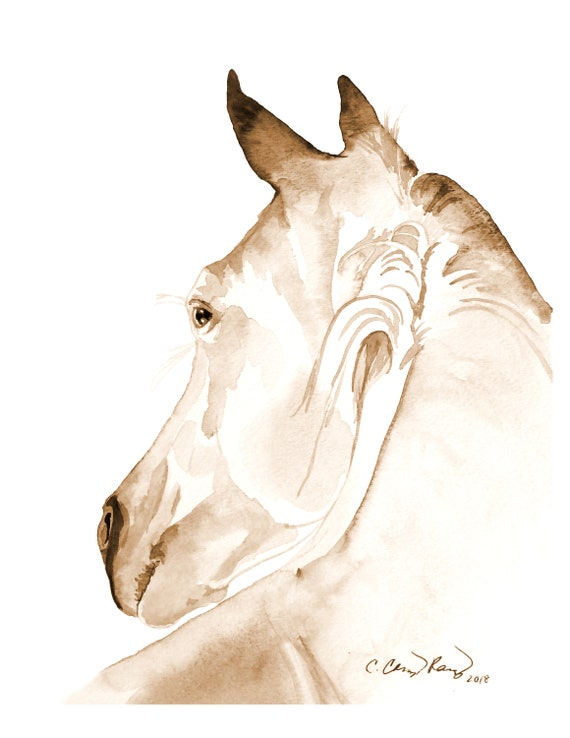 Horse Watercolor Art Print from Original Painting by Cheryl Casey, Wall Decor