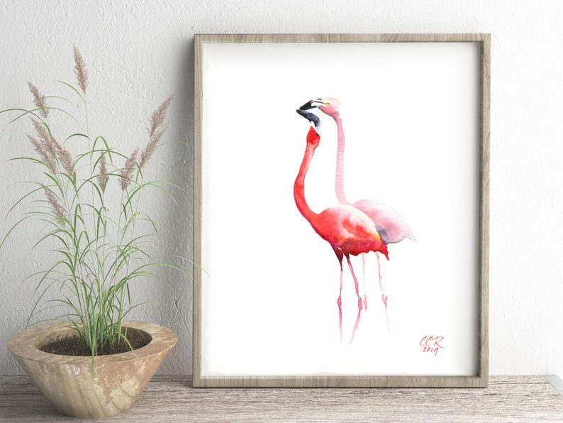 Flamingos Art Print from Watercolor Painting by Cheryl Casey image 0
