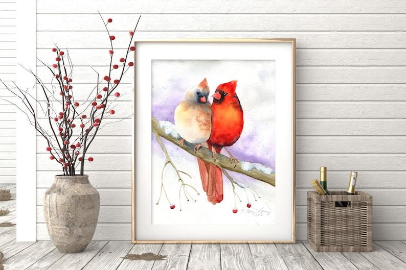 Cardinal Print Cardinal Couple Watercolor Painting of Birds image 0