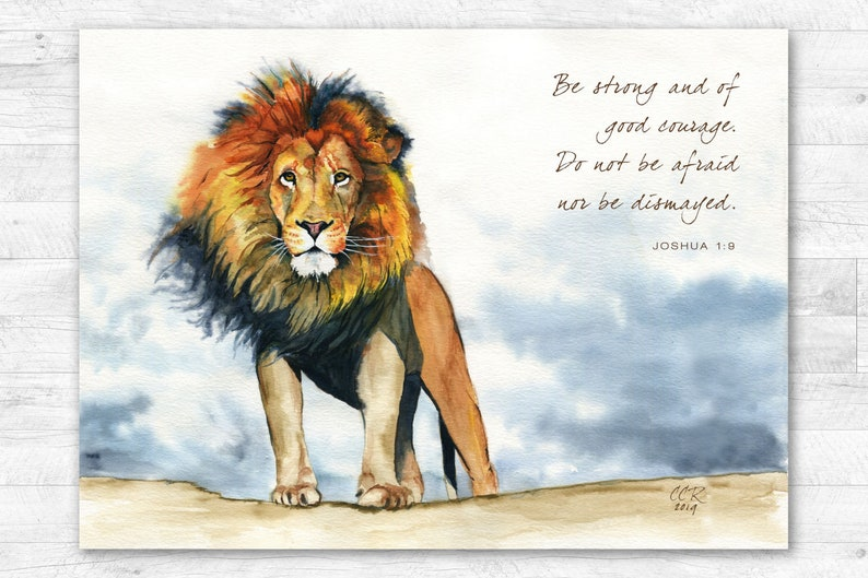 Lion Artwork PERSONALIZED any Quote Scripture Text from image 0