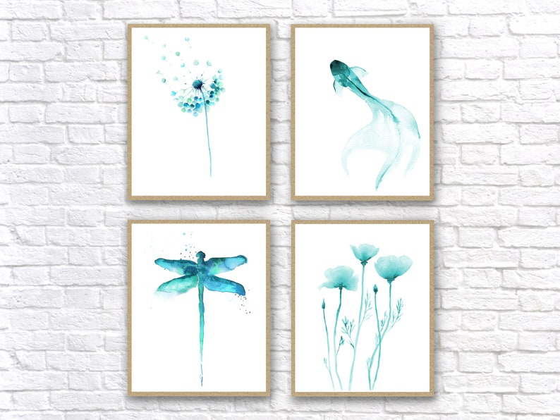 Teal Wall Art Print Set of 4 Shades of Blue Aqua Teal from image 0