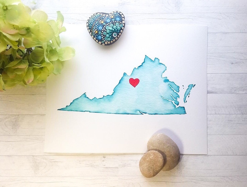 Virginia or ANY STATE Personalized Map Any Color Any Town image 0
