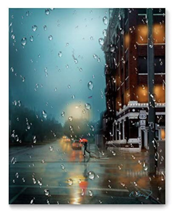 EXTRA LARGE PRINT Rainy City Street Art Print from Original Art by Cheryl Casey, 6th Street in the Rain, Red Umbrella, Cityscape