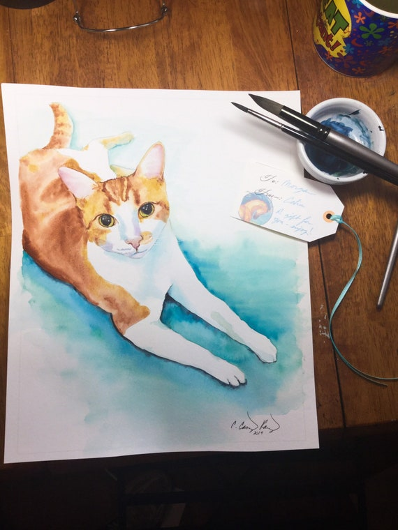 Cat Portrait Hand Painted in Watercolor, Custom Pet Painting from Your Photo, Any Pet or Animal