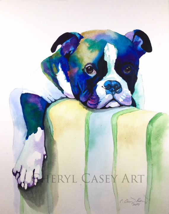 Dog Portrait Hand Painted in Watercolr, Custom Painting from Your Photo, Colorful Dog Cat Animal Painting, English Bulldog Bully