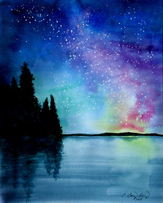 Night Sky Print Starry Galaxy Painting by Cheryl Casey, pine trees lake hills
