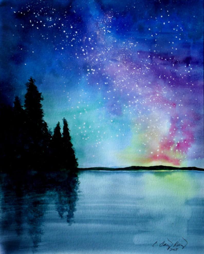 Night Sky Print Starry Galaxy Painting by Cheryl Casey pine image 0