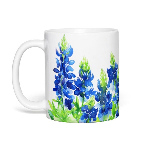 Bluebonnet Flower Coffee Mug, 11 oz. Ceramic Mug, Wraparound Bluebonnet Art, bbon5
