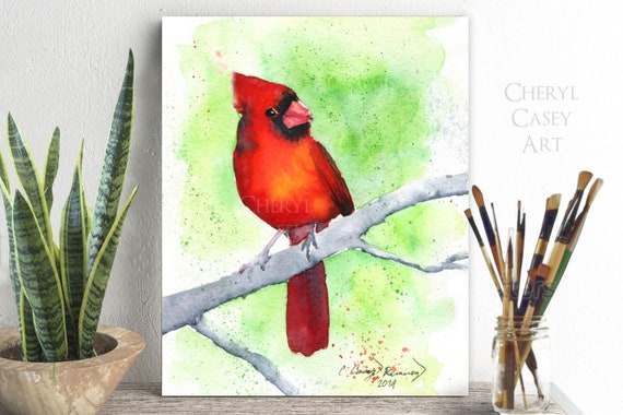 Cardinal Print, Redbird in a Tree, Watercolor Painting Print by Cheryl Casey