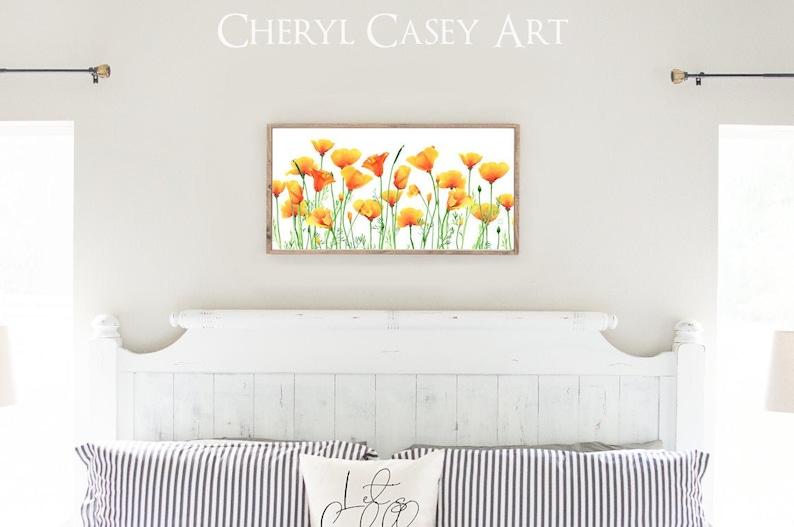 California Poppies Art Print Long Panoramic 13x26 inches image 0