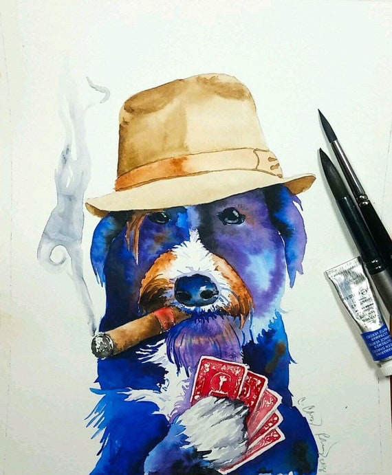 YOUR DOG with Fedora, Cigar, and Poker Hand, Custom Pet Portrait Watercolor Painting