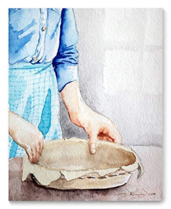 Pie Maker Watercolor Art Print from Original Painting by Cheryl Casey, Wall Decor