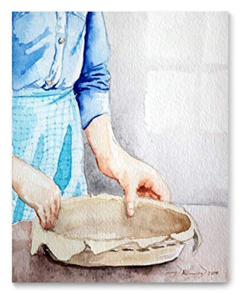 Pie Maker Watercolor Art Print from Original Painting by image 0