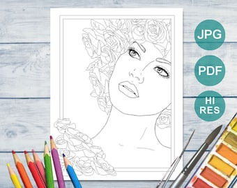 Printable Coloring Page - Woman's Face with Roses - Cheryl Casey Art - Digistamp, Digital Stamp